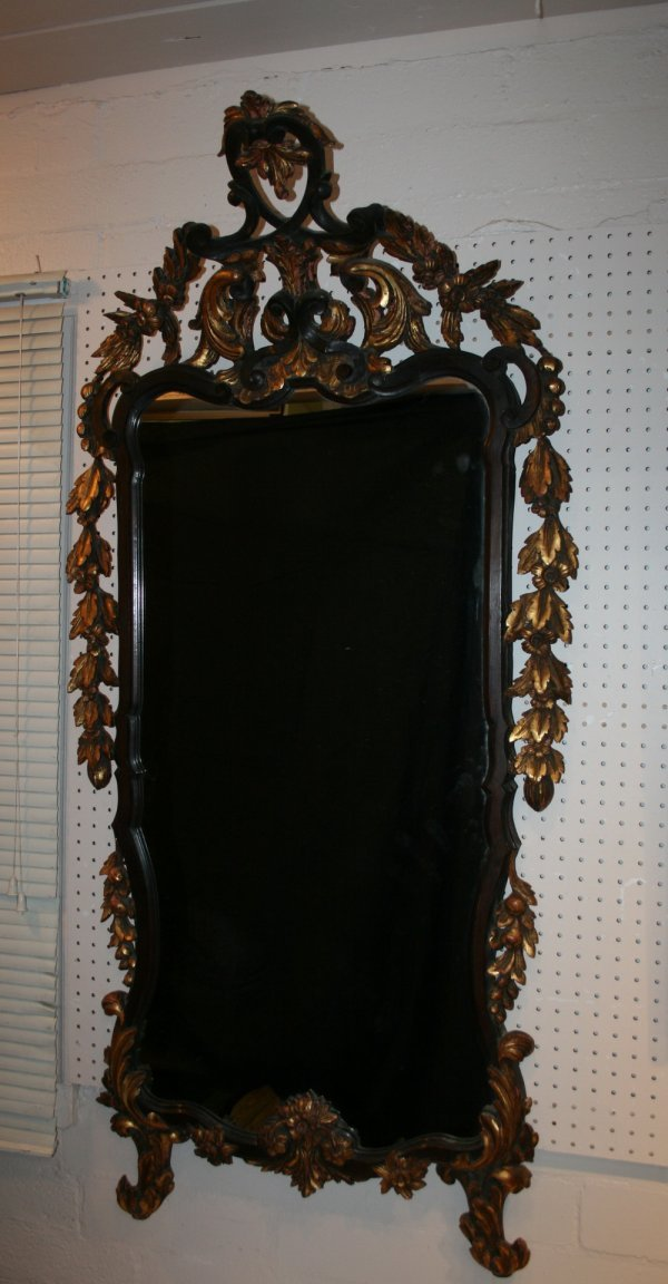 453: Rococco Antique French Carved Wood Mirror