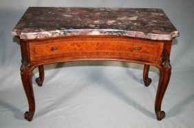 French Carved One Drawer Marble Table