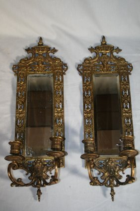 Pair Of 20thc Brass Candle Sconces