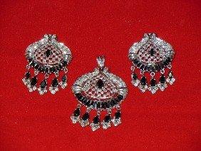 6: Set of black Sapphire and Diamond Jewelry