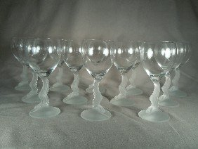 16: Lenox Frosted Swan Lake Champagne Stems