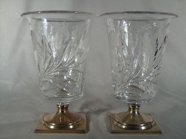 20: Pair of Hawkes Crystal/Sterling Vases