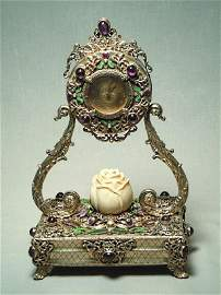 160: 19th Century Silver Gilt Jeweled Clock