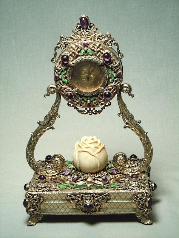 160: 19th Century Silver Gilt Jeweled Clock