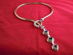 8A: 18KT Gold, Platinum, Diamond & Gem-Set Necklace