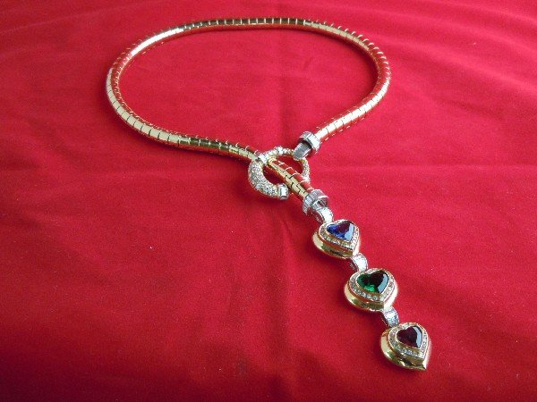 8A: 18KT Gold, Platinum, Diamond & Gem-Set Necklace