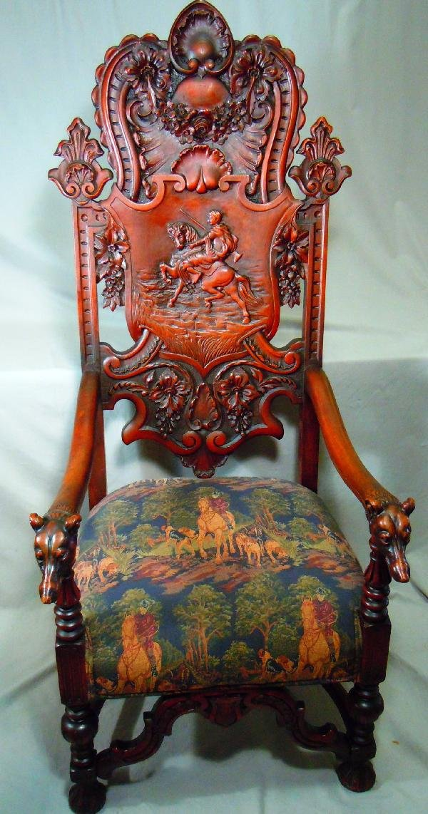 406: Well Carved Arm Chair with Dog's Heads