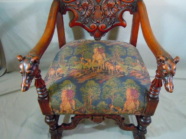 406: Well Carved Arm Chair with Dog's Heads - 3