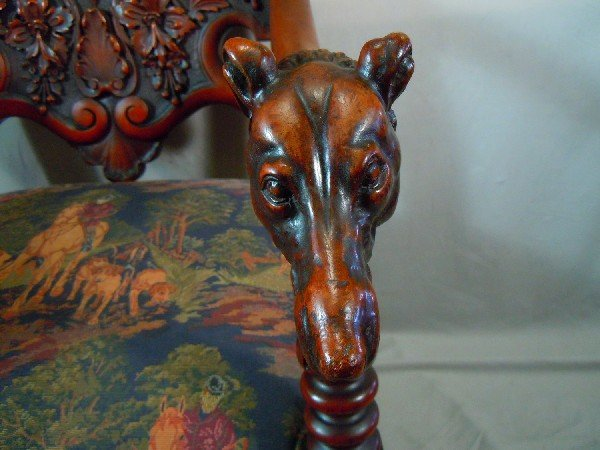 406: Well Carved Arm Chair with Dog's Heads - 4