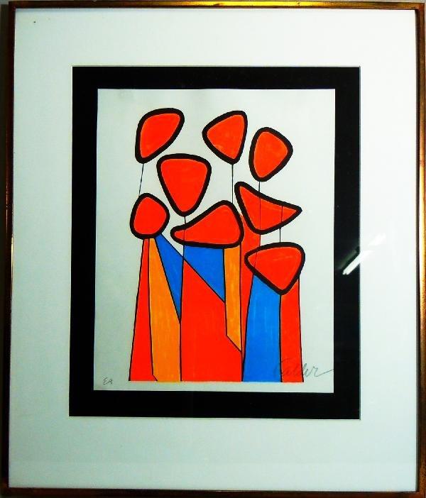 "407: Alexander Calder Silkscreen, ""Squash Blossoms"""