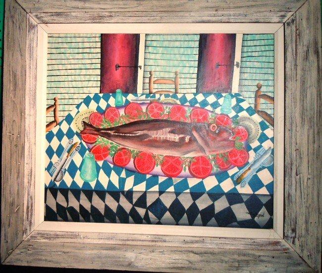 "16: Wilson Bigaud Haitian Oil On Board, ""Fish"""