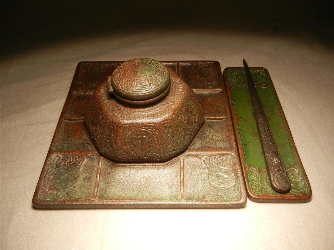 9: Tiffany Bronze Desk Set, Zodiac Pattern