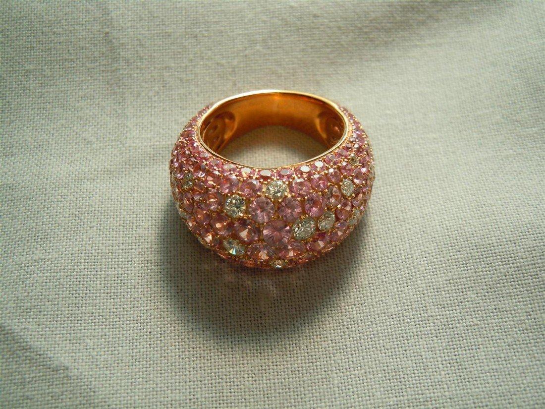 11: Ladies 18KRG Pink Sapphire & Diamond Ring