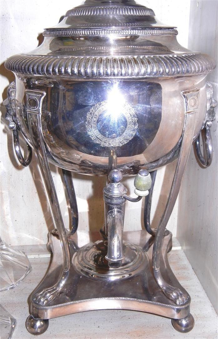12: Georgian Style English Silver-Plate Hot Water Urn