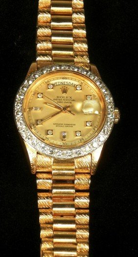 17: Gents 18K Presidential Rolex with Diamond Bezel
