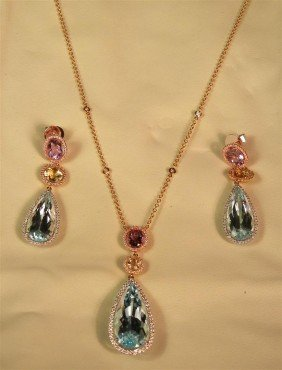 18: 18KWG/YG/RG Gemstone Necklace & Earring Suite