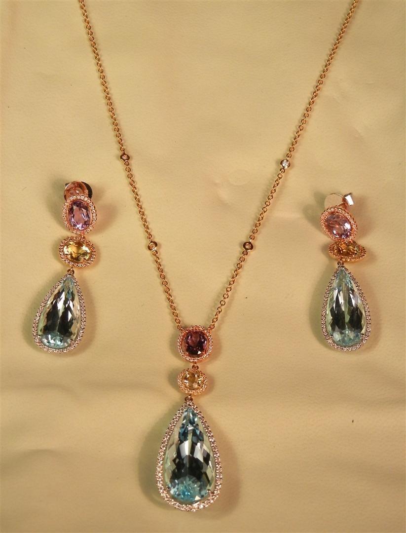 18: 18KWG/YG/RG Gemstone Necklace & Earring Suite