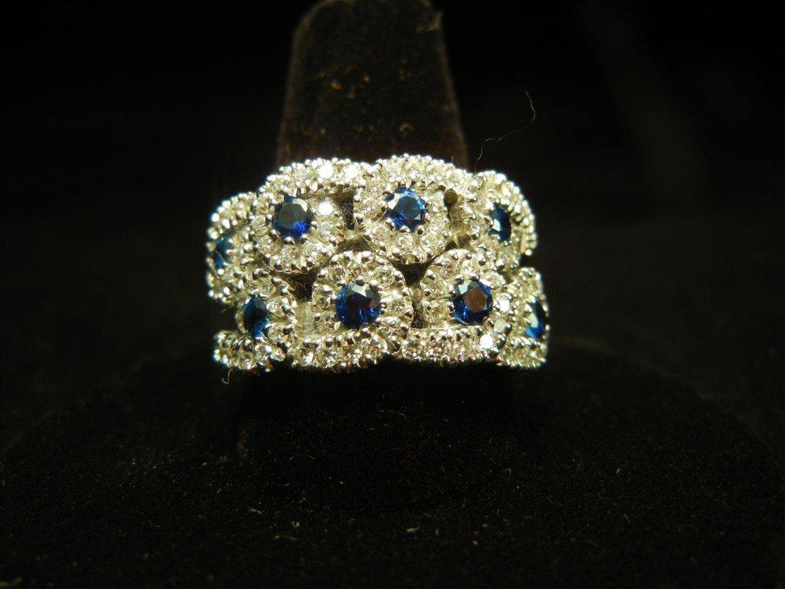22: 18KWG Sapphire & Diamond Ring