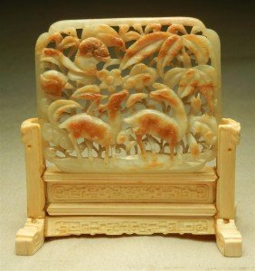 85: Small Chinese Jade Carving & Ivory Stand