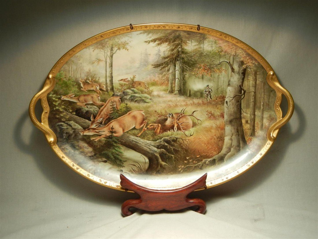 101: Hand-Painted A. Heidrich China Serving Tray
