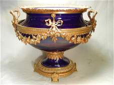 117 Sevres Porcelain Centerpiece w Gilt Bronze Mounts