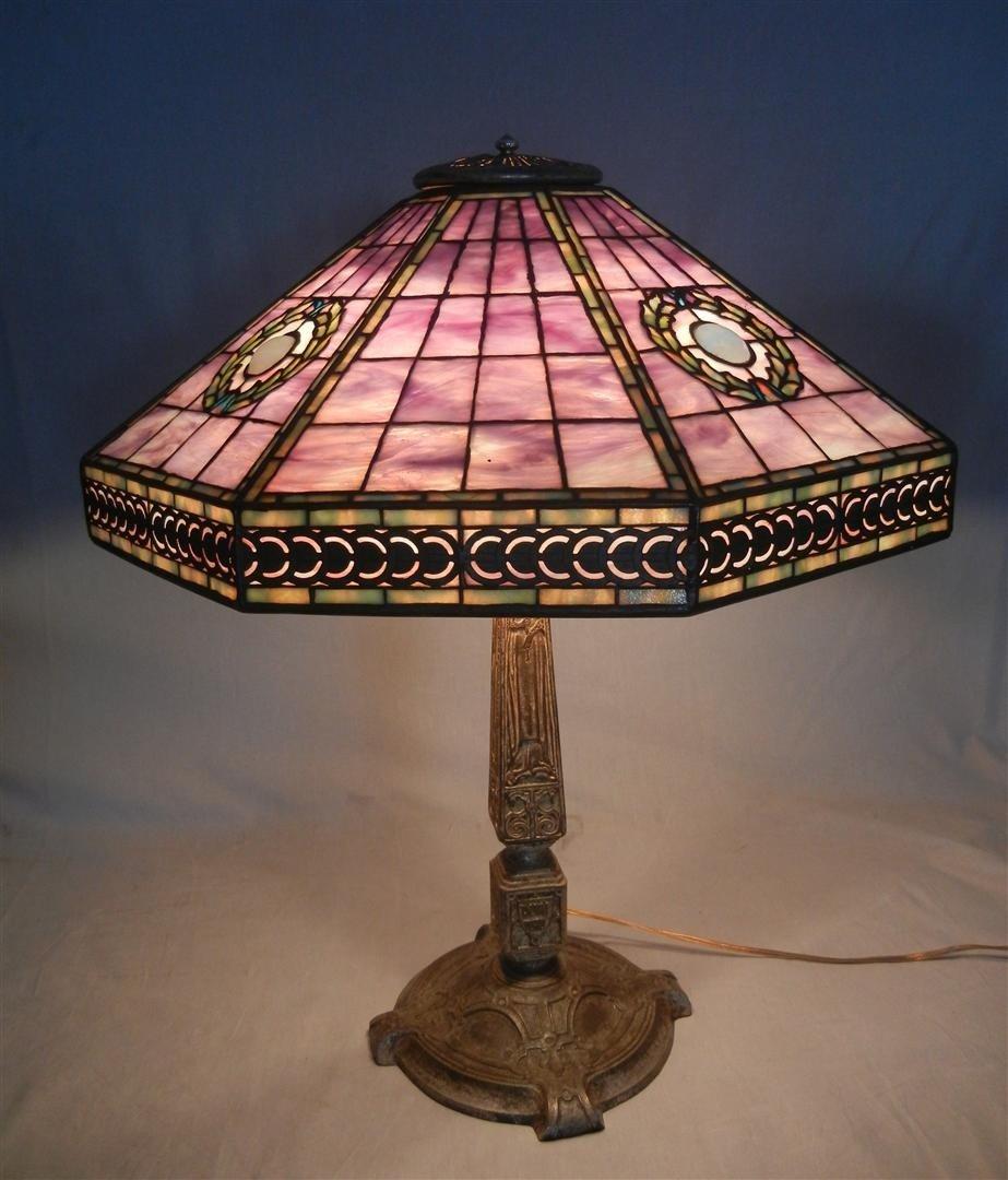 1: Tiffany Harvard Lamp on Rare Silvered Bronze Base
