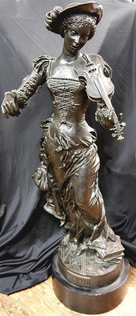 """9: Paul Dubois, Large bronze """"La Musique"""""""