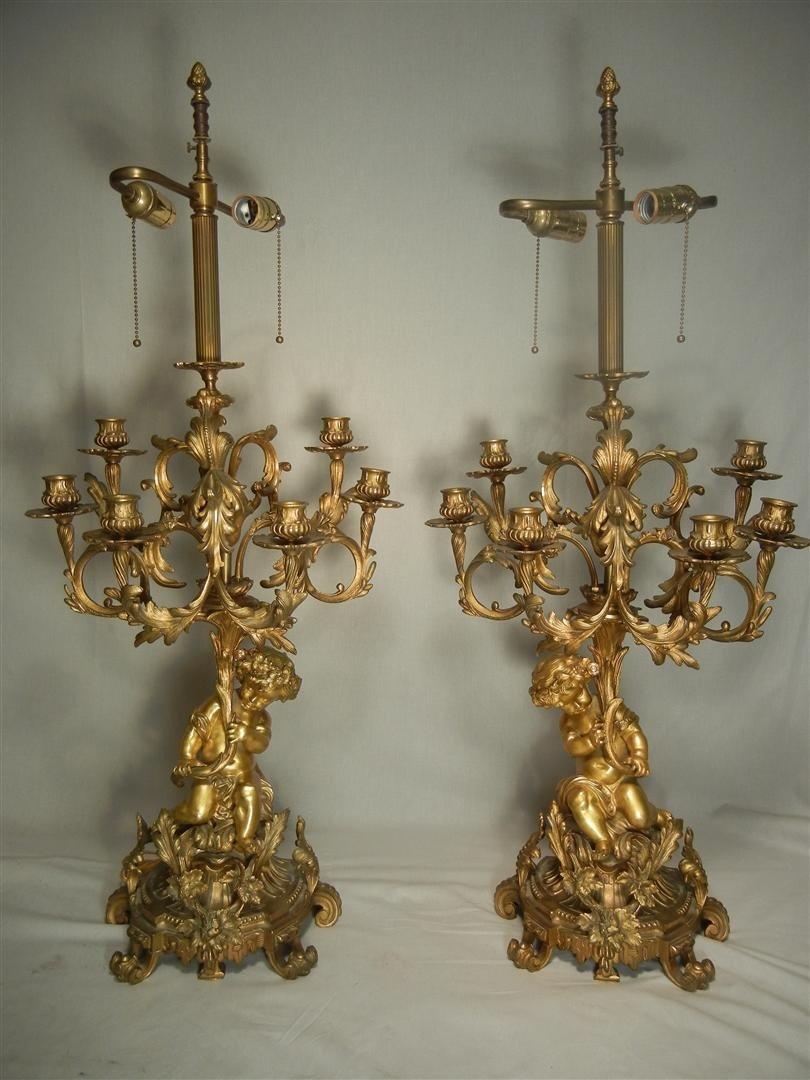 15: 19th Century Gilt Bronze Putti Candelabra