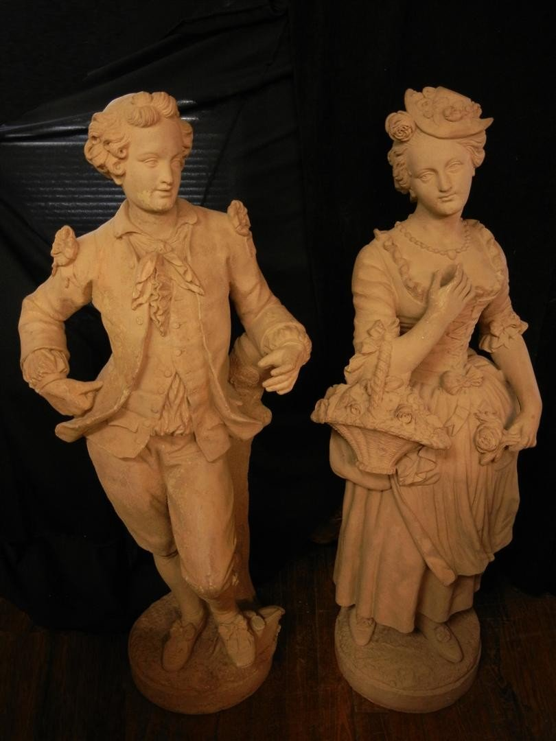 1: French Life Size Terracotta Sculptures