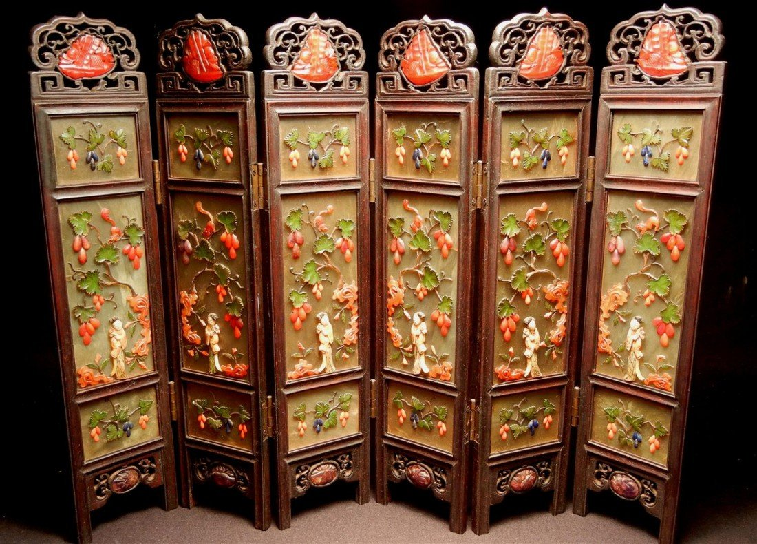 5: Chinese Jade, Coral, Ivory Miniature Screen