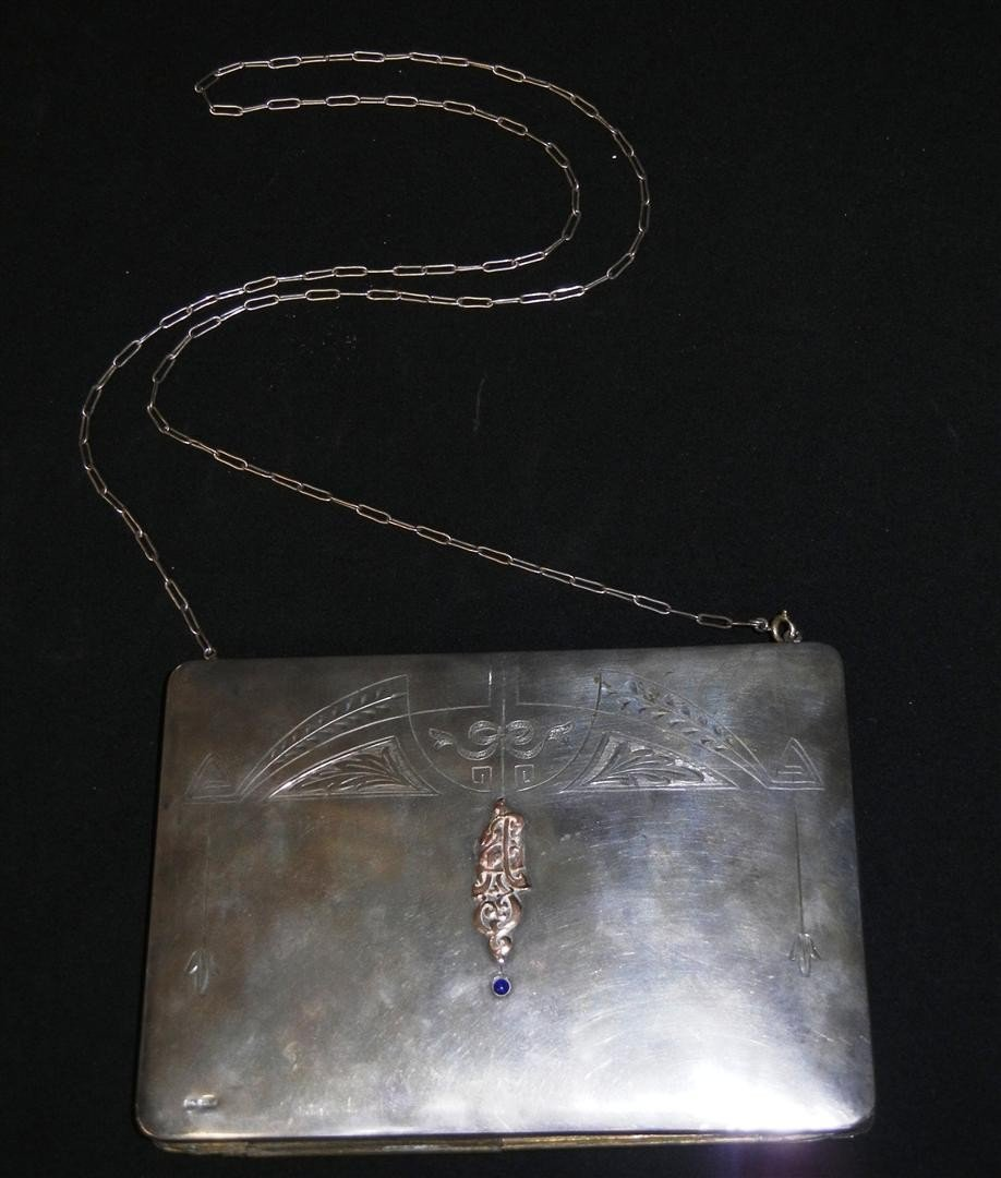 8: Russian Silver Gold & Sapphire Hand Bag