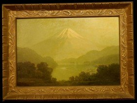11: Rare Japanese Oil on Canvas, Mt. Fuji