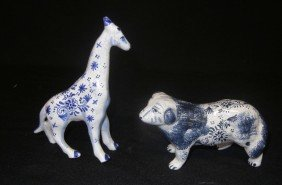 23: Two Blue & White Delft Figures