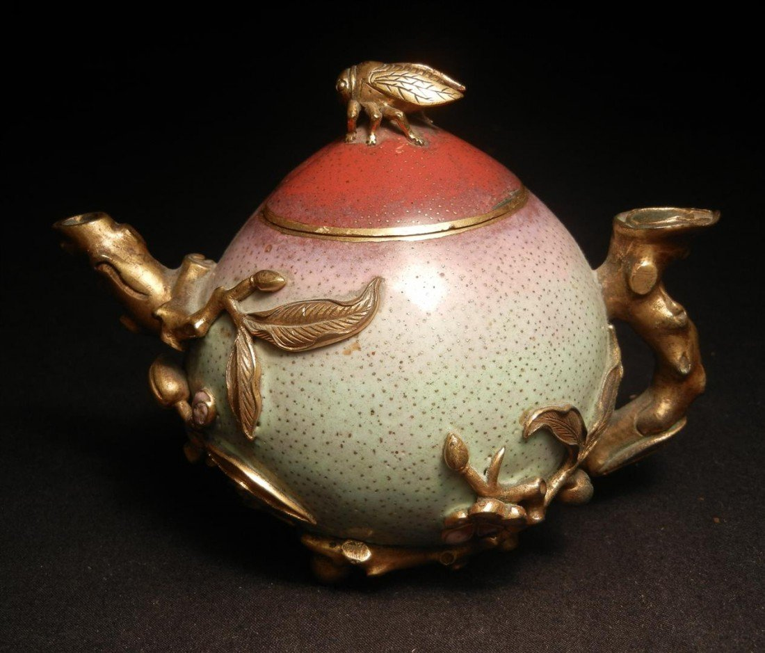 81: Rare Chinese Bronze Peach-Form Pitcher