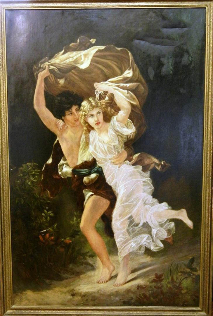 "307:  Pierre Auguste Cot 19thc Oil Painting ""Storm"""