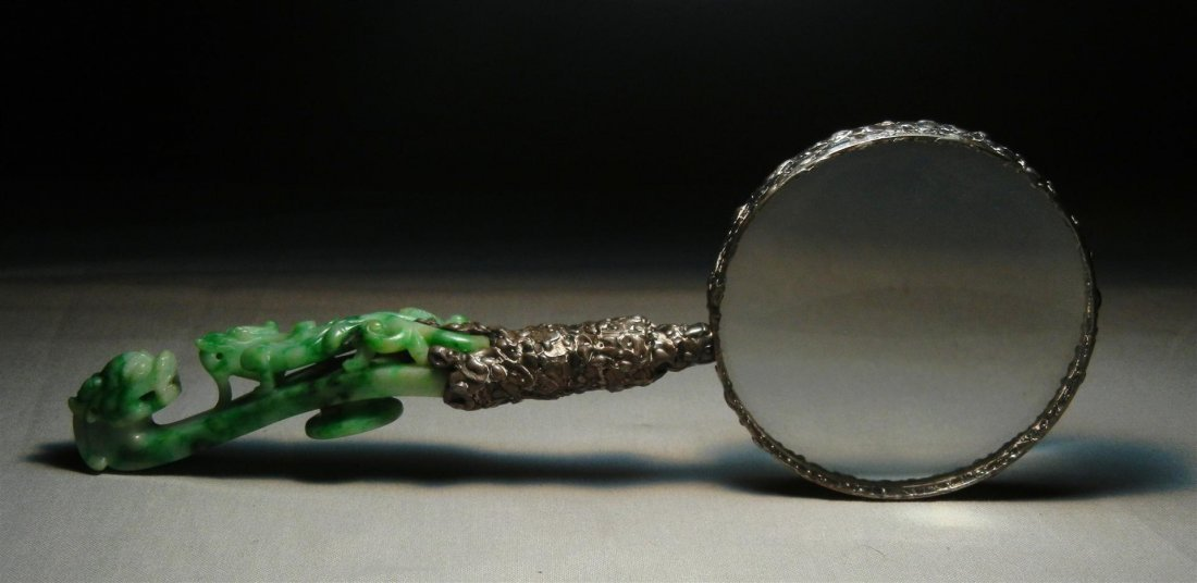 3: 19thc. Magnifying Glass with Jade Handle