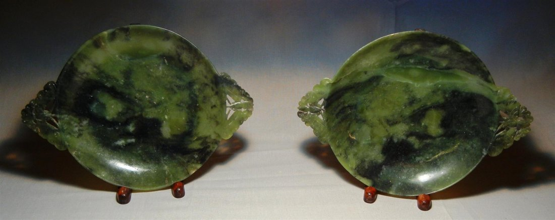 12: Pair of 19thc. Spinach Jade Bowls