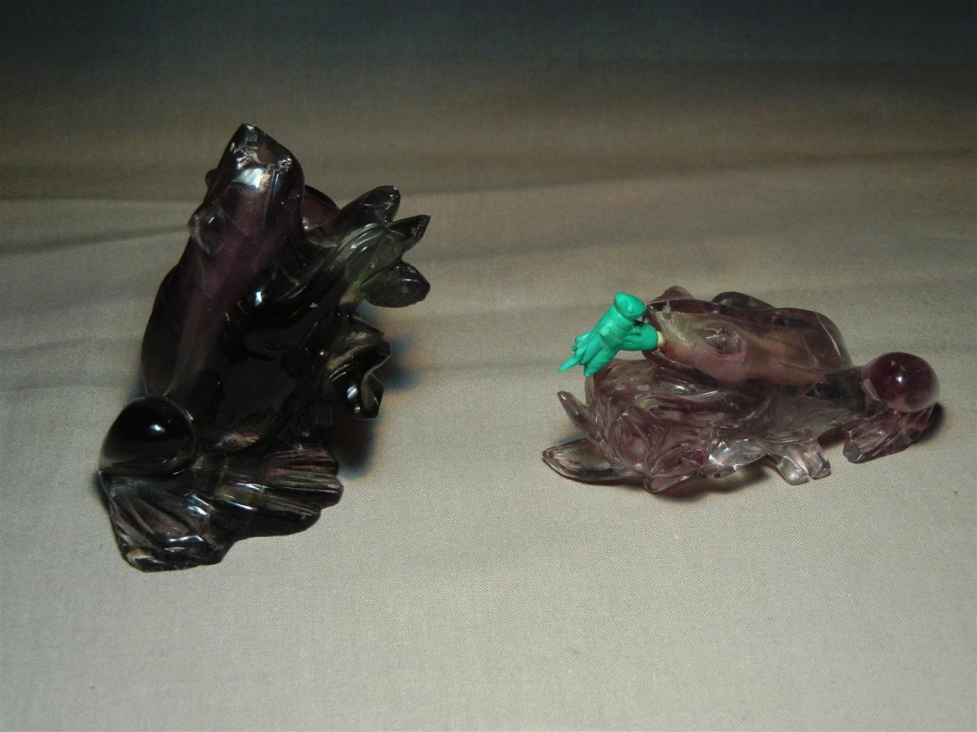 29: Two Amethyst Frog Snuff Bottles