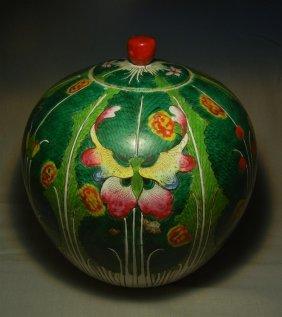Signed Chinese Tobacco Leaf Porcelain Jar
