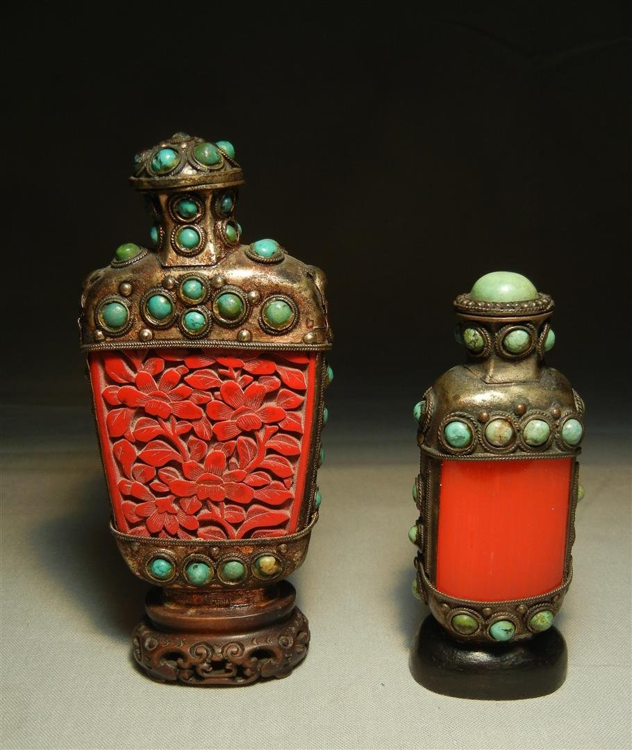 42: Pair of 19thc. Snuff Bottles with Turquoise