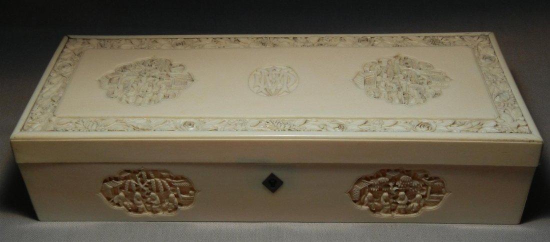 50: 19thc. Carved Ivory Box