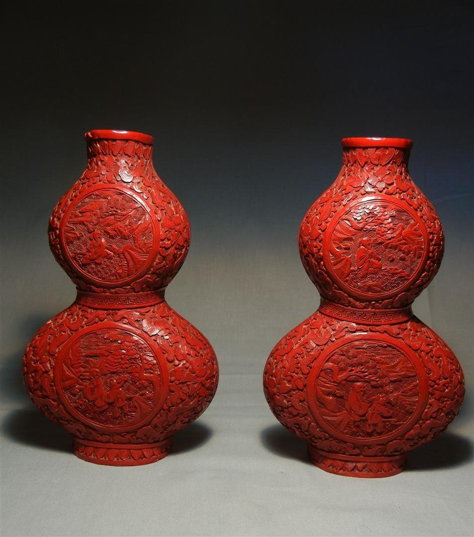 51: Pair of 19thc. Double Gourd Wall Pockets