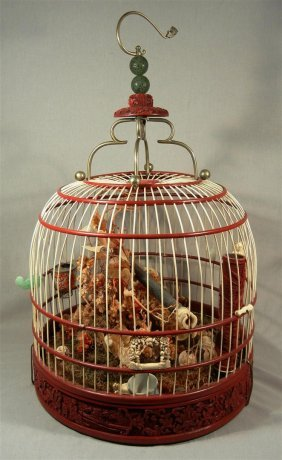 19thc. Chinese Carved Ivory Birdcage