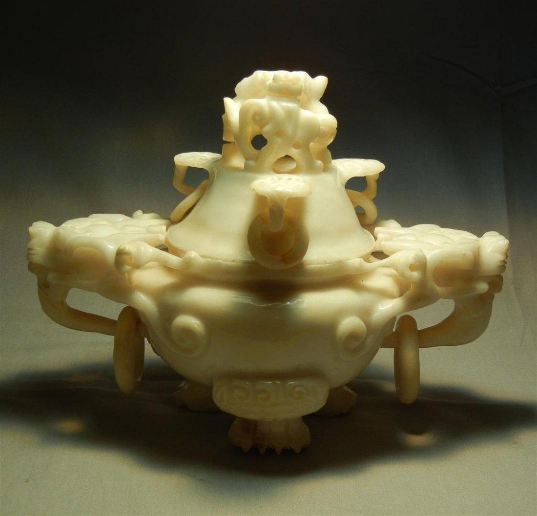 60: Chinese White Jade Censor
