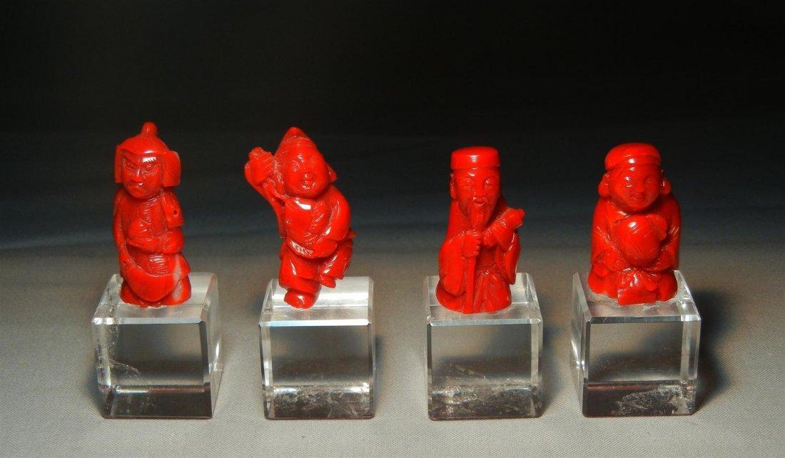 62: Four 19thc. Miniature Coral Dieties