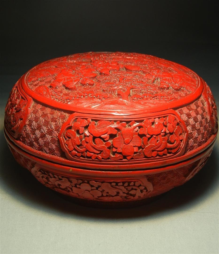 63: 19thc.Cinnabar Sewing Box