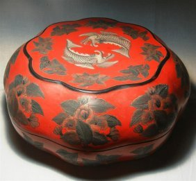 19thc. Chinese Lacquer & Silver Deposit Box