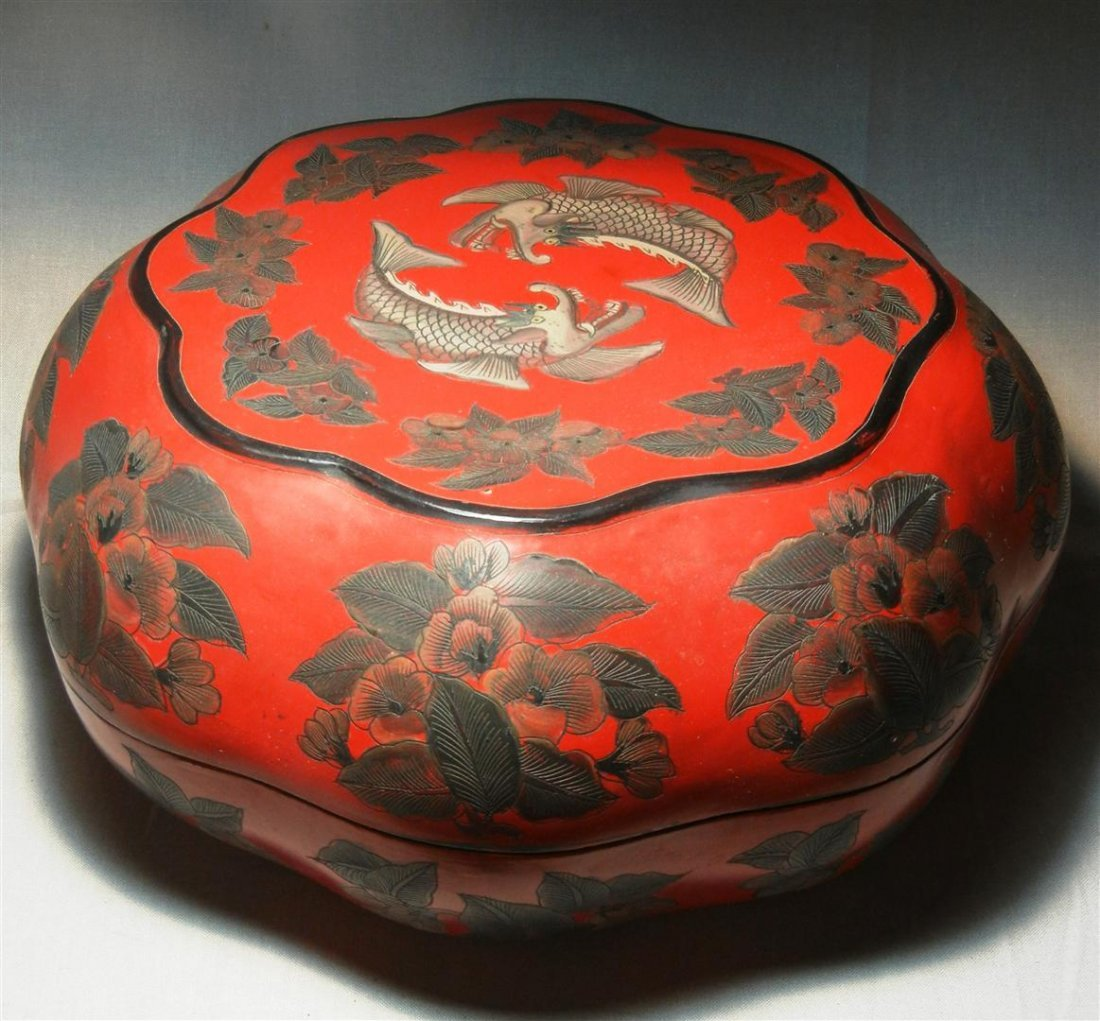64: 19thc. Chinese Lacquer & Silver Deposit Box