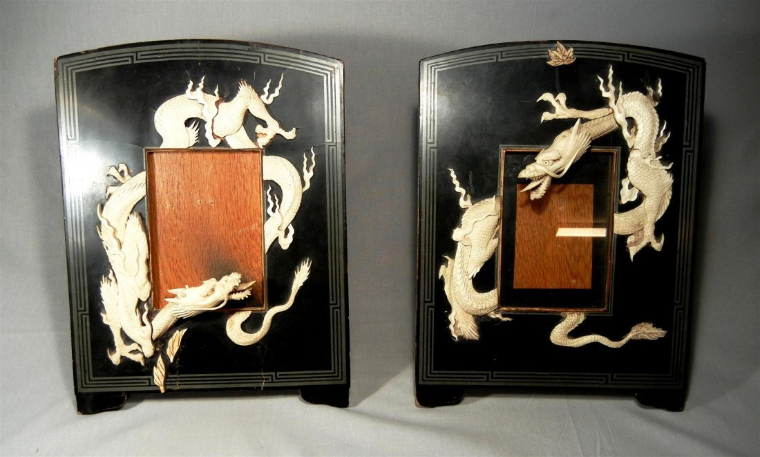 65: 19thc. Japanese Lacquer & Ivory Frames