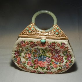 Chinese Jeweled Purse With Jade Handle